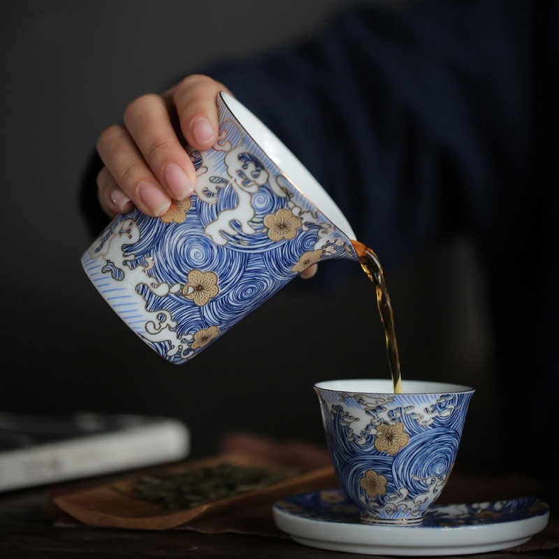 "PINNY ""STARRY NIGHT""Color Enamel Cha Hai 200ml Ceramic Fair Cups Hand Made Chinese Kung Fu Tea Accessories Handpainted Tea Set"
