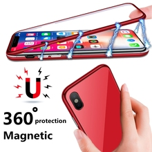 ФОТО magnetic case for for iphone 6 6s 7 iphone 8 plus coque tempered glass metal cover phone case for iphone 8 iphone x 10  cases