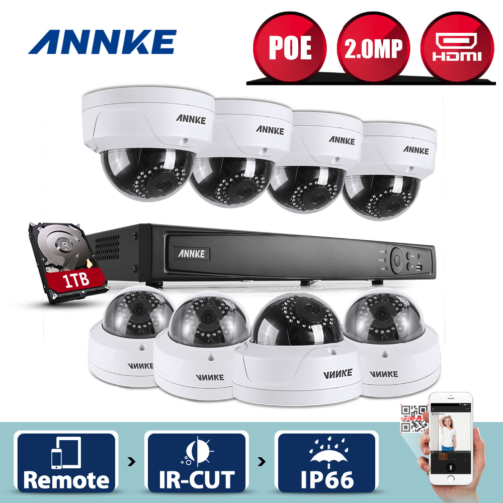 ANNKE 8CH 1080P 2MP PoE NVR Network Dome IR WDR CCTV Security Camera System 1TB