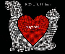 2pc/lot big dog love heart cat combine motif hot fix rhinestones sticker iron on tranfer appliques patch design stone for shirt