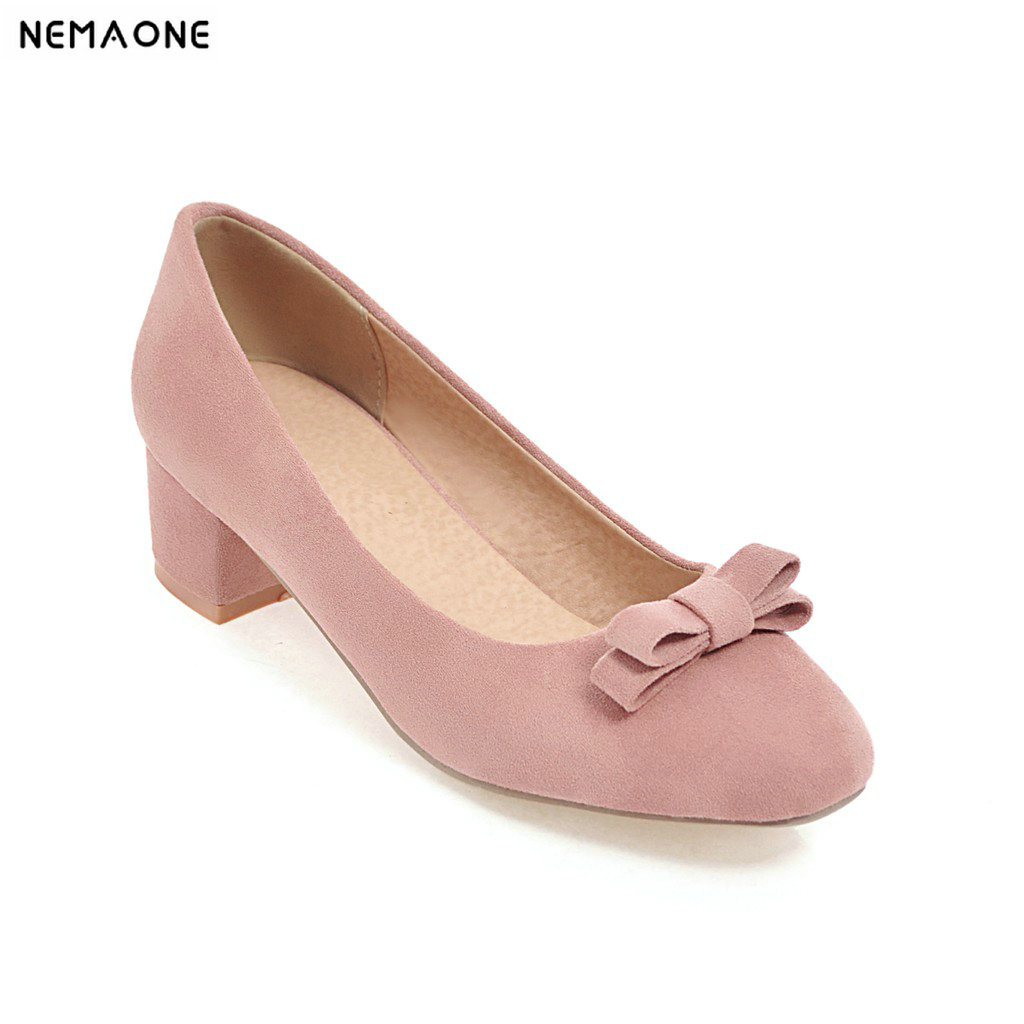 2018 New spring autumn shoes woman sweet bowties women shoes low heels shoes square toe ladies shoes 2017 new spring autumn big size 11 12 dress sweet wedges women shoes pointed toe woman ladies womens