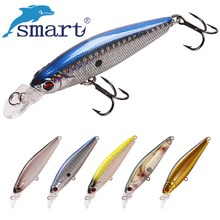 Smart Minnow Fishing Lure 75mm 9.7g Floating 1.0m Plastic 3D Eyes Hard Fishing Bait with France VMC Hook Artificial Minnow Bait цена 2017