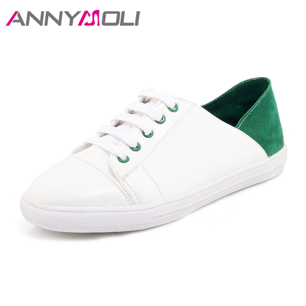 ANNYMOLI Women Flats Lace Up Shoes Loafers School Shoes Round Toe Causal Mule Shoes Female Flat Footwear White Big Size 12 34-46