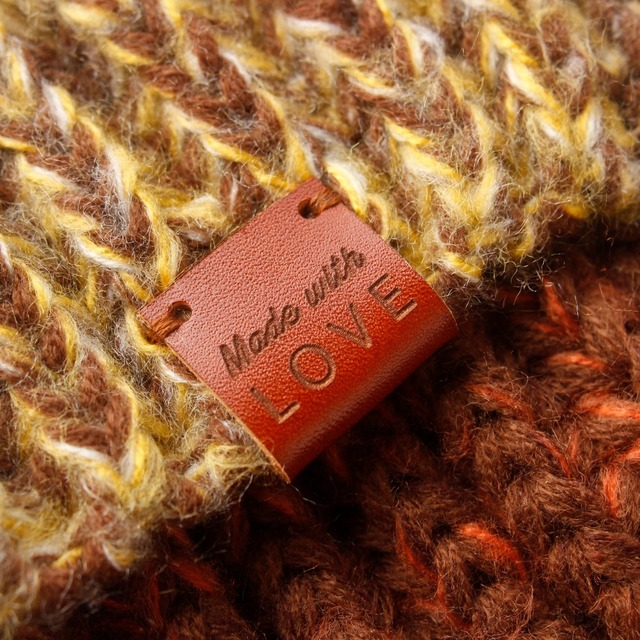 Handmade with love labels, Leather Tags, personalized tags, knit labels, Custom Name,  Handmade, Custom Design (PB1509)