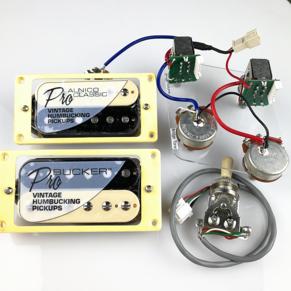 Electric Guitar Wiring Harness Prewired Kit 3 Way Toggle Switch 1 2 B Humbucker Vol Tone Diagram Set Lp Standard Probucker Alnico Zebra Pickups With Pro For