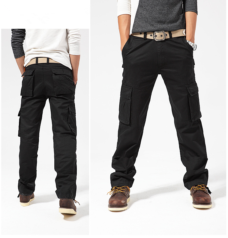 Mens New Multi-Pocket Fashion Cargo Pants Loose Overalls Male Commando Style High-Grade Ourdoor Full-Length Men Casual Trousers