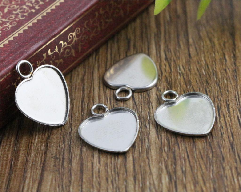 20pcs 12mm Heart Inner Size Stainless Steel Material Simple Style Cabochon Base Cameo Setting Charms Pendant Tray (T7-41)