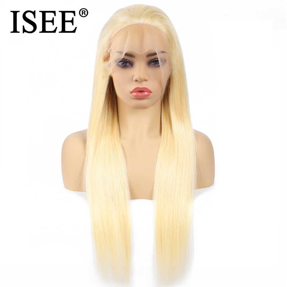 ISEE волосы прямые волосы на фронте шнурка парик с волосами младенца синий/613 блонд кружева передние человеческие волосы парики Remy 150% плотность розовый парик на фронте шнурка