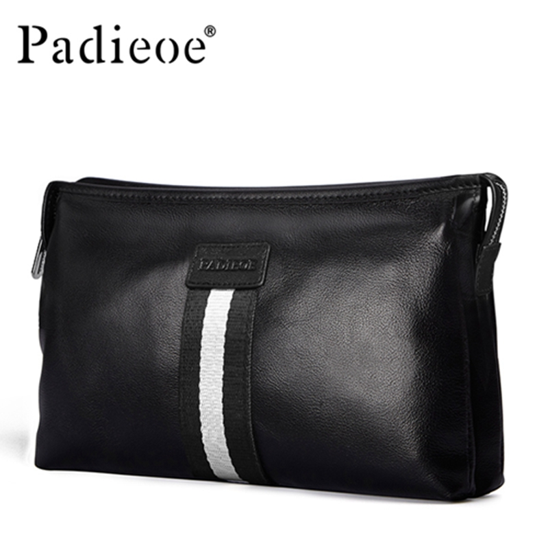 Padieoe Fashion Luxury Brand Men Bag Genuine Leather Handbag Mens Clutch Bags Business Male Hand Bag padieoe fashion luxury designer brand men bag genuine leather handbag business male shoulder messenger bags