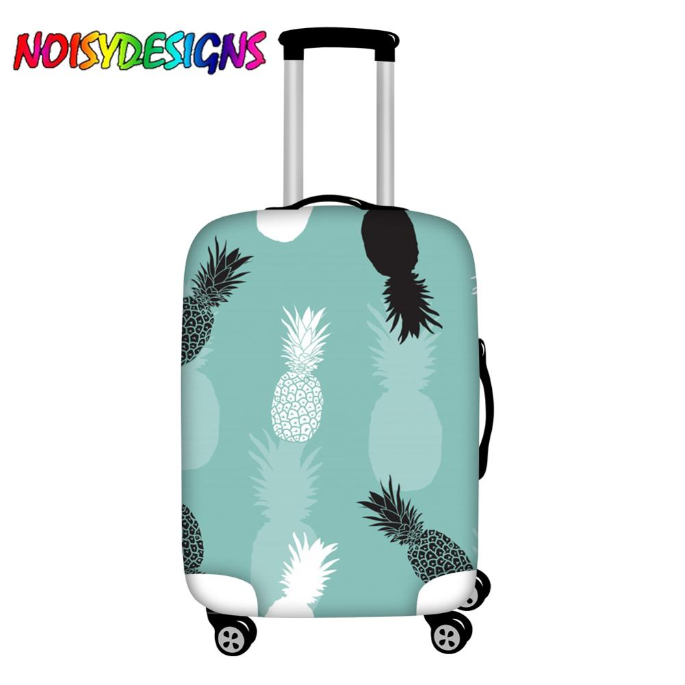 NOISYDESIGNS Hot Sale Thicker Suitcases Bag Dust Rain Covers Black White Pineapple Blue Trolley Cases Suitcase Protector Covers