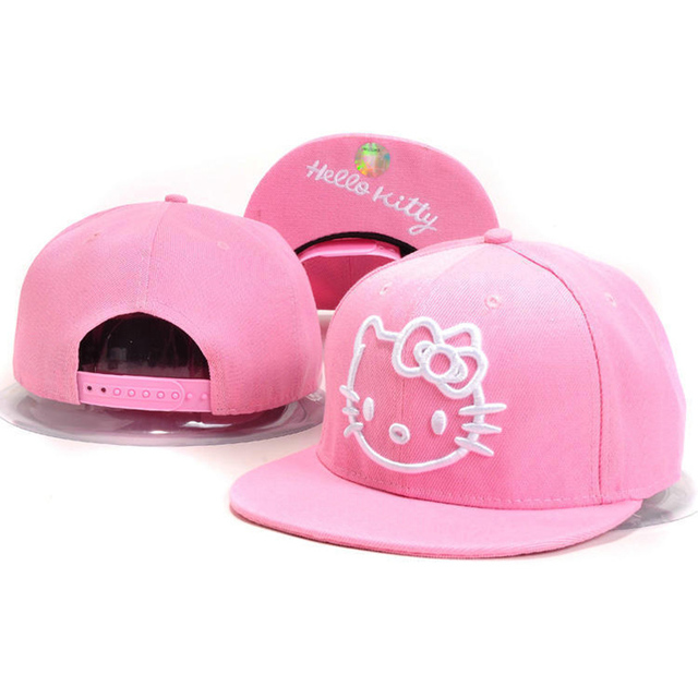 eeeac271c0c6f Hello Kitty Snapback Hats For Men   Women cute Pink Cotton Snap back baseball  caps Gorras hip hop cap Summer Style Cartoon hat