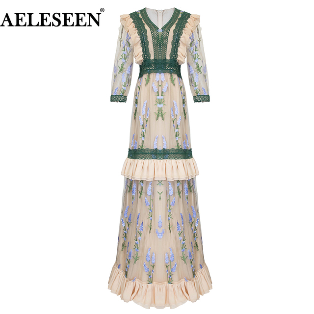 1AELESEEN Elegant Floral Mesh Embroidery Dress Women's Vintage Lace Patchwork Ruffles Party Runway Long Maxi Dresses Vestidos