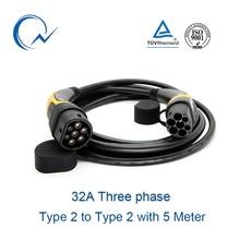 32A трехфазный кабель EV Тип 2 к Тип 2 IEC 62196-2 EV шт.; Штепсель для зарядки 5 метровый кабель TUV/UL Mennekes 2 разъема