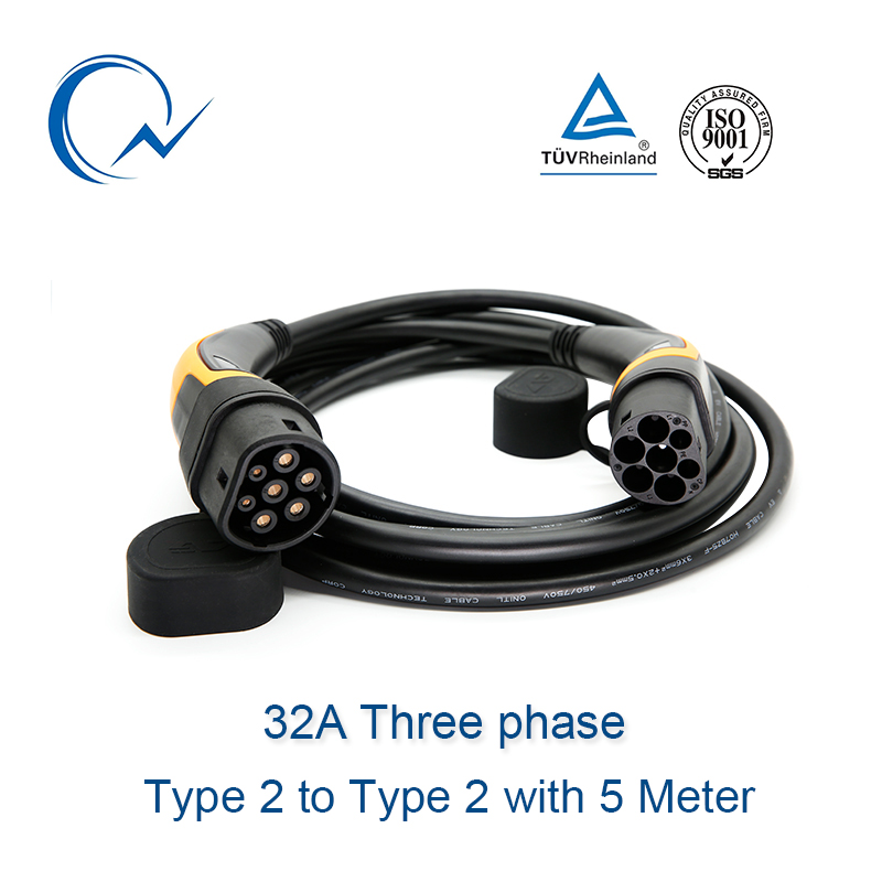 32A Three Phase EV Cable Type 2 To Type 2 IEC 62196-2 EV Charging Plug With 5 Meter Cable TUV/UL Mennekes 2 Connector
