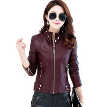 Stand Collar Leather Jacket Women Plus Size Short Motorcycle Bomber Jacket Women Chaquetas Motorcycle Bombers Coat Women C4120(China)