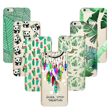 Green Silicone Soft TPU Case for Couqe iPhone 8 X 7 4 4S 5 5S SE 5C 6 6S Plus Cover Fundas Silicone Panada Dreamcatcher Cacti