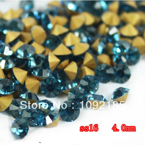 SS16(3.8-4.0mm) Blue zircon Color,10gross/lot Pointed Back Chaton Rhinestone for Jewelry Accessory! Free Shipping ss16 3 8 4 0mm aquamarine color 10gross lot pointed back chaton rhinestone for jewelry accessory free shipping
