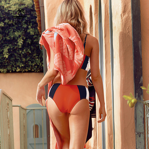 Image 4 - CUPSHE Tricolor Bandeau Bikini Sets Women Patchwork Mid Waist Adjustable Two Pieces Swimwear 2020 Girl Beach Bathing Swimsuits