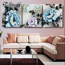 FULLCANG diy 5d diamond embroidery peony flower triptych painting 3 piece full square/round drill mosaic pattern decor FC652