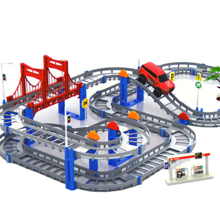 Kids Multilayer Electric Rail Car Construction Vehicles Toy Assembled Puzzle Train Track Building Blocks Educational Toys Gift