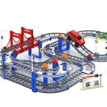 Enfants Multicouche Électrique Rail De Voiture Construction Véhicules Jouet Assemblé Puzzle Train Piste Blocs de Construction Jouets Éducatifs Cadeau