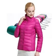 2017 Для женщин Пух куртка зима ультра легкий Пуховики на гусином пуху тонкий длинный рукав куртка молнии Пальто и пуховики карманы Твердые