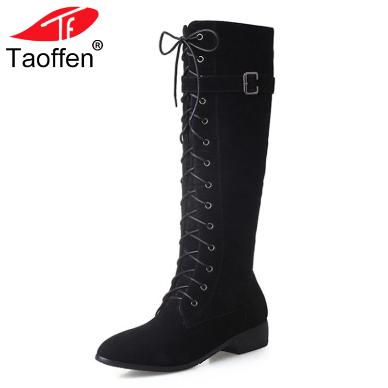 TAOFFEN Fashion Woman Round Toe Flat Knee Boots Women Stylish Lace Up Knight Boot Ladies Suede Leather Shoes Footwear Size 33-43 stylish round collar sleeveless lace spliced women s jumpsuit