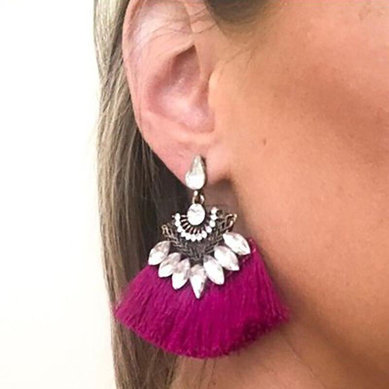 Exaggerate Women Ethnic Vintage Drop Earrings Long Fringe Earrings Boho Statement Jewelry Tassel Earrings pendientes flecos