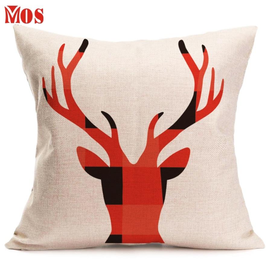 AG 18 Top Quality 2017 Hot Selling Christmas Deer Pillow Sofa Waist Throw Cushion Cover Home Decor # 111