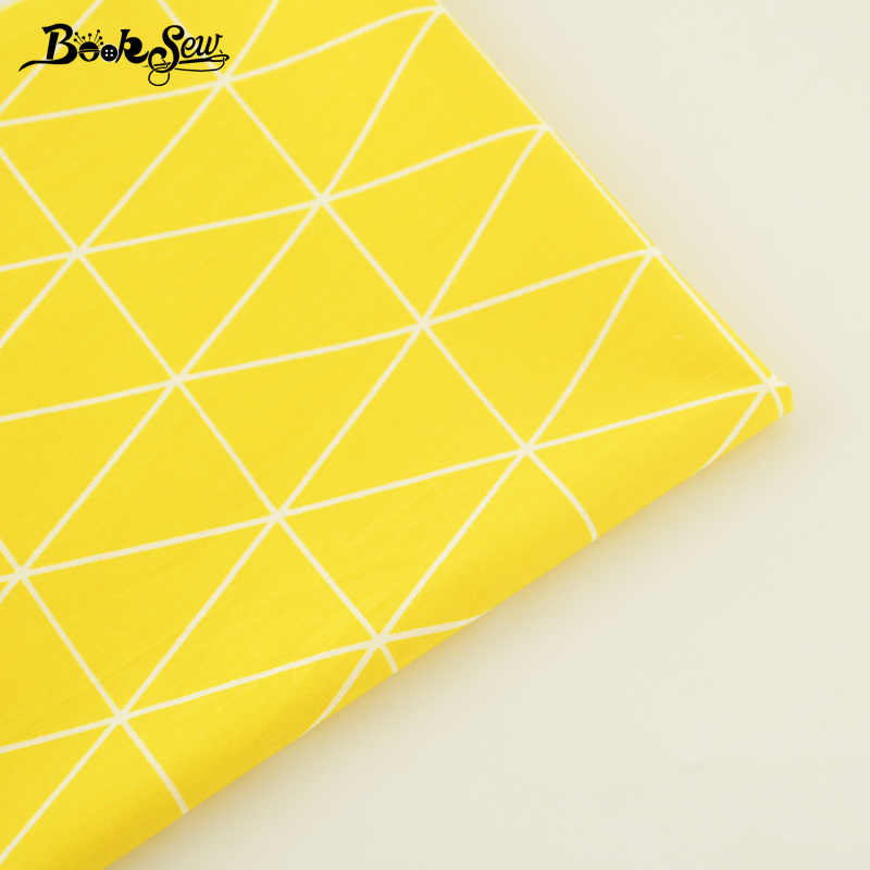 Booksew Cotton Twill Fabric Yellow Sewing Cloth Triangle Design Quilting For Baby Beding Scrapbooking Doll Pillow Home Textile