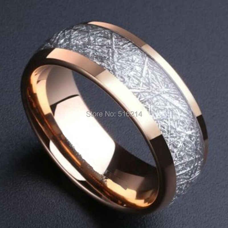 His & Hers สัญญา Meteorite แหวน Rose Gold Silver สีธรรมชาติทังสเตนคาร์ไบด์ 8 มม.กว้าง Domed เสร็จสิ้นขนาด 8-14