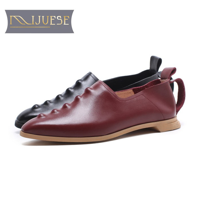 Mljuese 2018 여성 플랫 암소 가죽 와인 붉은 색 지적 발가락 아파트 봄 편안한 로퍼 크기 34 43 캐주얼 캐주얼 플랫-에서여성용 플랫부터 신발 의  그룹 1