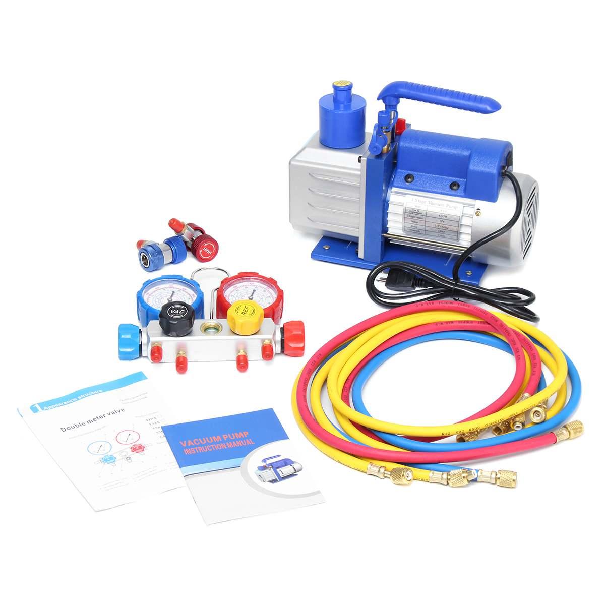 US $205 38 40% OFF|R134A R22 R410A 4 8CFM Vacuum Pump HVA/C Refrigerant  W/4VALVE MANIFOLD GAUGE Pumps Parts Mini Vacuum Pump For Air  Conditioning-in