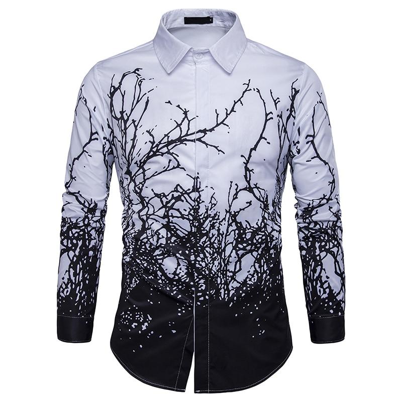 2019 Luxury Printing Shirt Men Black White Long Sleeve Camisa Masculina Slim Fit Chemise Homme Social Shirt Male M-3XL