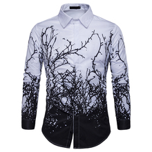 2019 Luxury Printing Shirt Men Black White Long Sleeve Camisa Masculina Slim Fit Chemise Homme Social Male Eu Size S-2XL