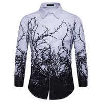 2019 luxus Druck Hemd Männer Schwarz Weiß Langarm Camisa Masculina Slim Fit Chemise Homme Social Hemd Männlichen M-3XL