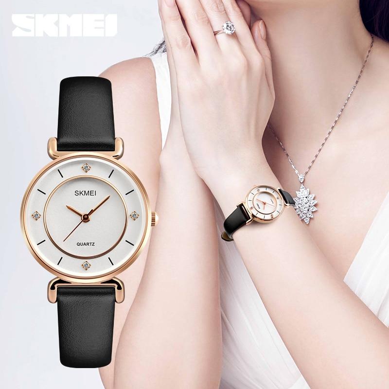 Fshion Women Dress Watches SKMEI Luxury Brand Waterproof Ladies Analog Quartz Watch Women Rhinestone Watches