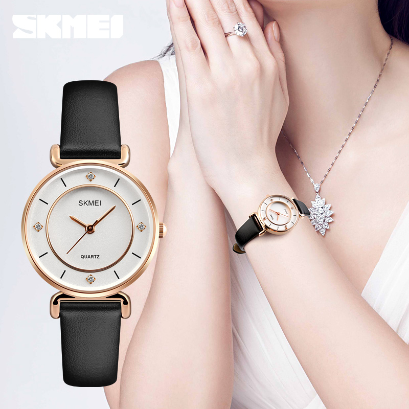 Fshion Women Dress Watches SKMEI Luxury Brand Waterproof Ladies Analog Quartz Watch Women Rhinestone Watches