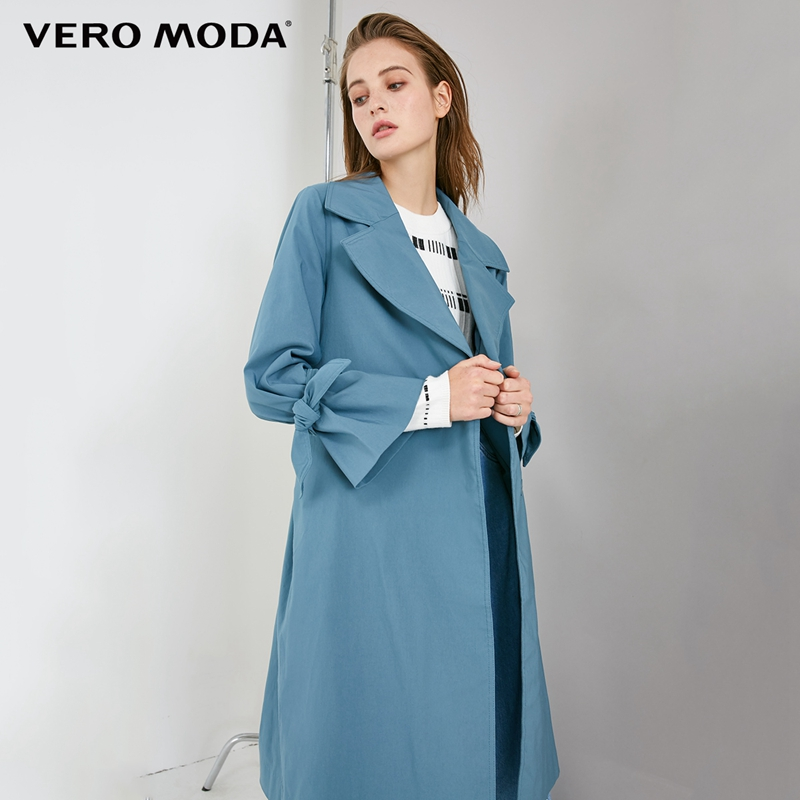Vero Moda OL Style Concealed Buttons Lace-up Lapel Minimalist   Trench   Coat | 318321519