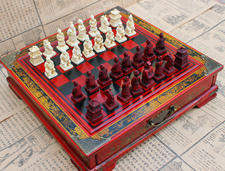 High Quility CHESS SET Resin Character type Chess Set Beautiful Wooden Board Terracotta Warriors and Horses Chess set Nice Gift high quantity medicine detection type blood and marrow test slides