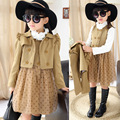 2015new clothing set  autumn winter baby girls winter coat double breasted long sleeve baby girl trench 3-9T trench+dress  2pcs