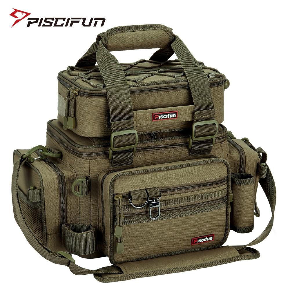 Piscifun Large Capacity Fishing Bag Portable Multifunctional Tackle Box Bag Multipurpose Outdoor Hiking Camping Bolsa De