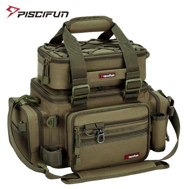 Piscifun grande capacité sac De pêche Portable multifonctionnel sac De boîte De matériel polyvalent en plein air randonnée Camping Bolsa De Pesca