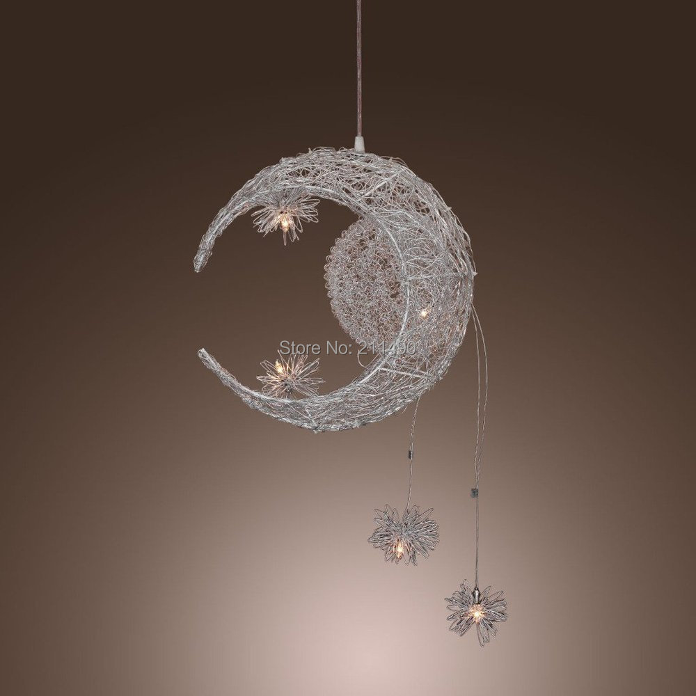Modern Moon And Star Design Pendant Light Max 100W With 5 Lights Chrome Finish