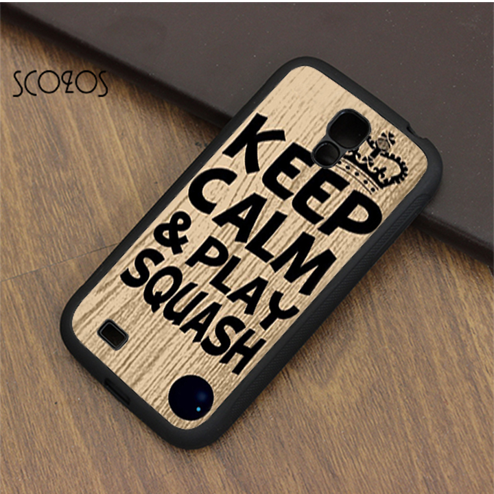 SCOZOS Keep calm & play squash ball racket quote case cover for samsung galaxy S3 S4 S5  ...