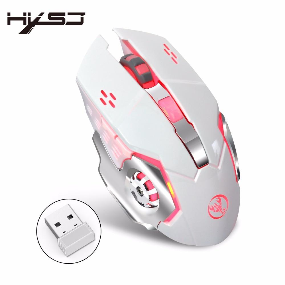 Nouveau HXSJ M70 Sans Fil Gaming Mouse 2400 dpi Rechargeable 7 couleur Rétro-Éclairage Respiration Confort Gamer Souris pour Ordinateur Portable De Bureau PC