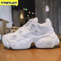 Comfy Ademend Mesh Trainers Chunky Hakken 5cm vrouwen Platform Sneakers Vrouwen Schoenen Casual Vrouwelijke Witte Mesh Schoenen Voor vrouw