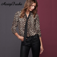 Women Blouse V Neck Long Sleeve Leopard Print Shirt Womens Loose Tops And Blouses Plus Size Camisa Feminina Elegant Clothing