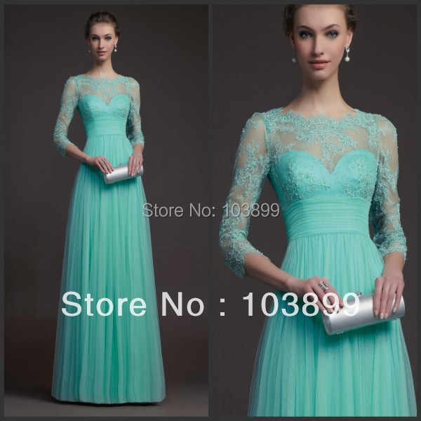Simple Design Scoop Neck Long Sleeve Long A Line Tulle: Fabulous A Line Empire Waist Scoop Neck Mint Green Tulle