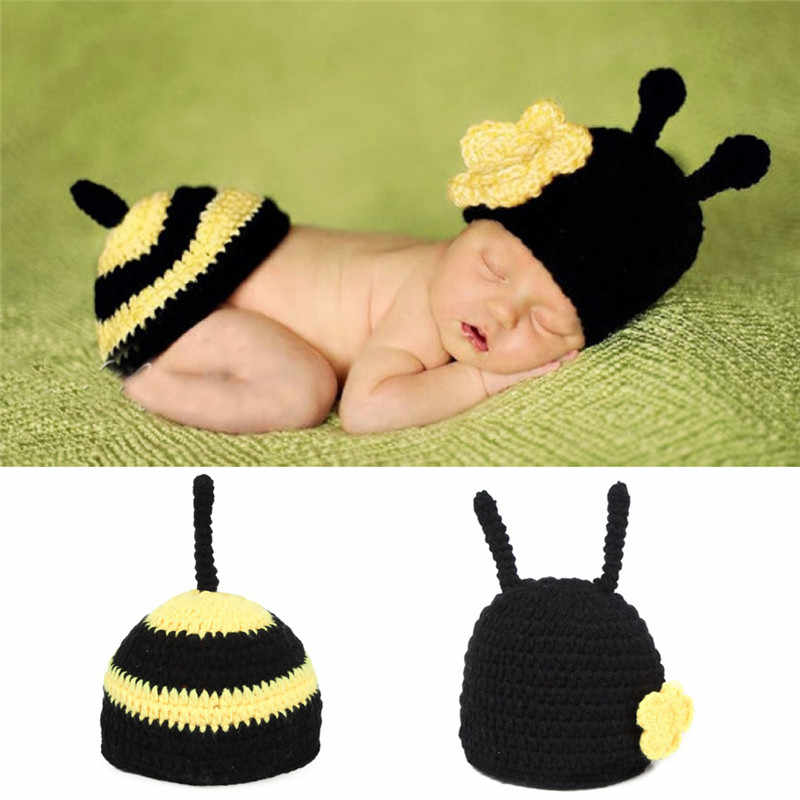94dd3f699 Newborn Photography Props Baby Bee Clothes Caps Costume Crochet Outfits  Cotton Hat Animals Set for 0